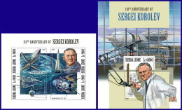 SIERRA LEONE 2017 MNH** Sergei Korolev Space Raumfahrt Espace M/S+S/S - OFFICIAL ISSUE - DH1802 - Space