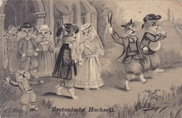"Illustrateur, Maurice Boulanger, Cats, Chats, Katten, ""Bretonische Hochzeit"" (pk43425) - Illustrators & Photographers"