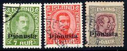 ICELAND 1936 Overprint Set Of 3 Used.  Michel Dienst 63-65 - Officials