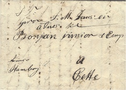 "1824- Letter From Copenhagen  To Cette ( South Ot France )  "" Franco Hamburg ""  Also No Rating From Hamburg To Cette - Danimarca"