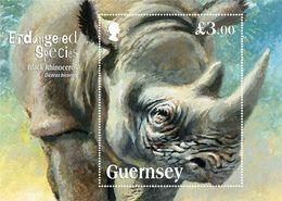 Guernsey 2018 MS MNH Endangered Species: The Black Rhinoceros - Rhinozerosse