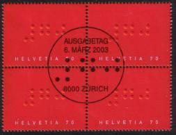 Zu 1080 / Mi 1828 / YT 1753 Braille Bloc De 4 Obl. 1er Jour - Switzerland