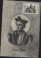 CM Carte Maximum St Saint Yves De Treguier Patron Des Hommes De Loi CAD Illustré 1er Premier Jour 19 Mai 1956 YT 1063 - 1950-59