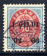 ICELAND 1902 I GILDI Overprint On 50 Aur. Perforated 14:13½ Used.  Michel 33A - 1873-1918 Danish Dependence
