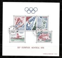 Monaco 1976 : Bloc N°11 Avec Timbres Yvert & Tellier N° 1057 - 1058 - 1059 - 1060 Et 1061 Et Avec Oblitérations Rondes. - Blokken