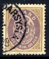 ICELAND 1892 Definitive 100 Aur., Used.  Michel 17A - 1873-1918 Danish Dependence