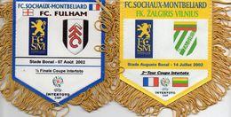 Lot De 2 Fanions Du FC SOCHAUX En Coupe INTERTOTO 2002 - Habillement, Souvenirs & Autres