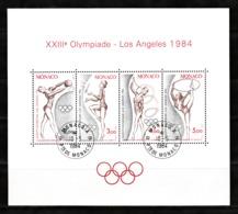 Monaco 1984 : Bloc N°27 Avec Timbres Yvert & Tellier N° 1412 - 1413 - 1414 Et 1415 Et Avec Oblitérations Rondes. - Blokken