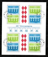Monaco 1984 : Bloc N°28 Avec Timbres Yvert & Tellier N° 1418 Et 1419 (4x) Et Avec Oblitérations Rondes. - Blokken