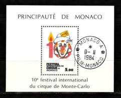 Monaco 1984 : Bloc N°29 Avec Timbre Yvert & Tellier N° 1454 Et Avec Oblitération Ronde. - Blokken