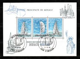 Monaco 1985 : Bloc N°32 Avec Timbres Yvert & Tellier N° 1488 - 1489 Et 1490 Et Avec Oblitérations 1er Jour. - Blokken