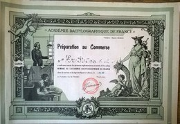Diplôme De Préparation Au Commerce Académie Dactylographique De France 1957 - Diplômes & Bulletins Scolaires