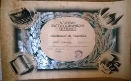 Diplôme De Secrétariat De Direction Académie Dactylographique De France 1961 - Diplômes & Bulletins Scolaires