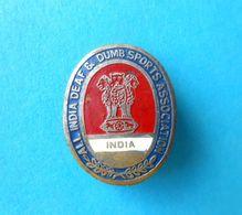 ALL INDIA DEAF & DUMB SPORTS ASSOCIATION Vintage Pin Badge - Sourds Mute Taub Sordo Surdo Gehörlosen Anstecknadel - Pin's