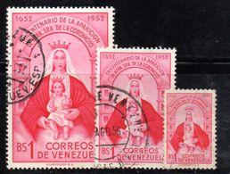 W896 - VENEZUELA 1952 , Yvert Serie N. 420/422  Usata . Coromoto - Venezuela