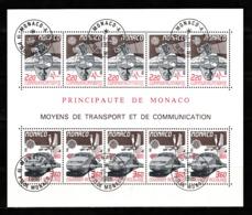 Monaco 1988 : Bloc N°41 Avec Timbres Yvert & Tellier N° 1626 Et 1627 (5x) Et Avec Oblitérations Rondes. - Blokken