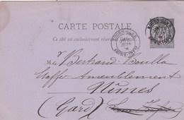 Entier Postal Sage Yvert  89 CP2 De ROUEN GARE 22/6/1886 Pour Nimes Gard - Cartes Postales Types Et TSC (avant 1995)