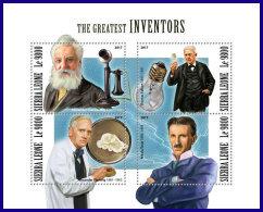 SIERRA LEONE 2017 MNH** Inventors Bell Fleming Edison Tesla M/S - OFFICIAL ISSUE - DH1801 - Wissenschaften