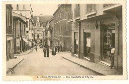 Rue Gambetta Et L'Eglise - PHILIPPEVILLE - Philippeville