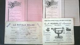 LOT DE 4 PAPIERS BUVARDS:  E. ROISIN , LA ROYALE BELGE, L URBAINE - Banque & Assurance