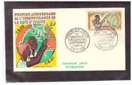 TEM10003   -   ABIDJAN  7.8.1961    /    FDC    PREMIER ANNIVERSAIRE DE L'INDEPENDANCE    Y.T. NR.  192 - Costa D'Avorio (1960-...)