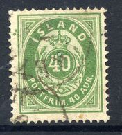 ICELAND 1876 Definitive 40 Aur. Perforated 14:13½ , Used.  Michel 11A - 1873-1918 Danish Dependence