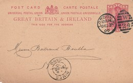 Grande Bretagne Entier Postal London 29/12/1900 Repiquage Commercial Inventaire Waring & Gillow Pour Nimes France - Entiers Postaux
