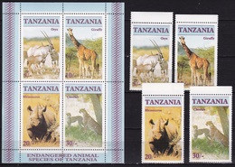 Tanzania 1986 4 Different Endangered Animals: Rhinoceros-cheetah-oryx-giraffe Block And Complete Set SG 479 / 482 MNH - Rhinozerosse