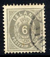 ICELAND 1896 Definitive 6 Aur. Perforated 12¾ , Used.  Michel 7B - 1873-1918 Danish Dependence