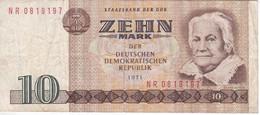 BILLETE DE ALEMANIA DE 10 MARK DEL AÑO 1971  (BANKNOTE) - [ 6] 1949-1990 : GDR - German Dem. Rep.