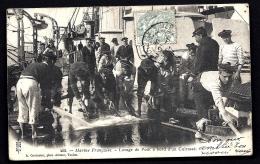CPA PRECURSEUR FRANCE- LA VIE DU MARIN A BORD EN 1900- LAVAGE DU PONT D'UN CUIRASSÉ- TRES BELLE ANIMATION GROS PLAN - Unclassified