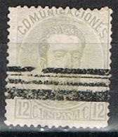 Sello 12 Cts AMADEO, Barrado, Edifil Num 122s º - 1872-73 Reino: Amadeo I