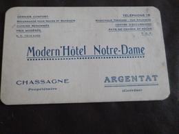 Carte Pub Publicitaire Argentat Creuse Modern'Hôtel Notre Dame Chassagne Propriétaire - Publicités