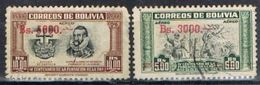 Lote 2 Sellos BOLIVIA Aereos, Sobercargas, Yvert Num  174-175 º - Bolivie