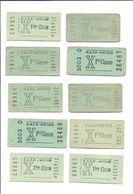 PARIS 10 Tickets Anciens 1ere  Classe RATP Metro - Metropolitana