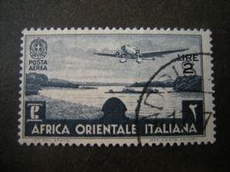 AFRICA ORIENT. ITALIANA - 1938, Posta Aerea, Sass N. A7, Lire 2, Usato - Italienisch Ost-Afrika