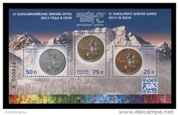 Russia 2014 Mih. 2023/25 (Bl.200) Paralympic Winter Games In Sochi. Medals MNH ** - Unused Stamps