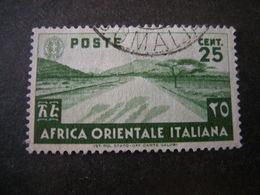 AFRICA ORIENT. ITALIANA - 1938, Pittorica, Sass N. 7, Cent. 25, Usato - Africa Orientale Italiana