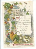 MENU 4 Septembre.. HOSTELLERIE Du CHAPON FIN à BRIVE (19), Traiteur L. BEISSO...illustrateur Raphaël Pasperin - Menus