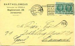 Postkaart Van Bartholomeus, Verhuurder Van Orgels Te Antwerpen : 1926 - Belgium