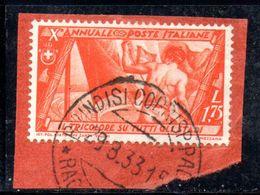 W863 - REGNO 1932 , 1,75 Cent N. 337  Usato .  Marcia Su Roma - Usati