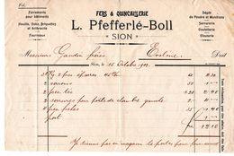 Facture Fers Et Quincaillerie Pfefferlé-Boll Sion Valais à M. Gaudin Frères D'Evolène / 1902 - Switzerland