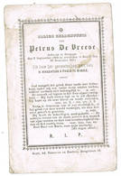 Baarle, Drongen: 1870, Petrus De Vreese ( 2 Scans) - Imágenes Religiosas