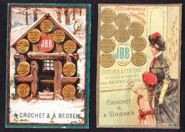 LOT DE 2 (demi?) Calendriers Petit Format Chromo Brook's Coton à Broder Et Crocher Machine à Coudre 1885 Et 1888 - Calendriers