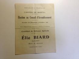 MARTEL, 46, Election Au Conseil D'arrondissement, 1936,1937 Bulletin De Vote - Non Classés