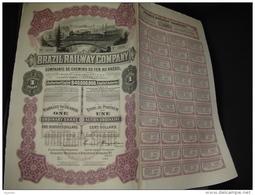 "Action""Brazil Railway Cy""Sao Paulo Brésil 1909 Capital $40000000 Chemins De Fer - Chemin De Fer & Tramway"