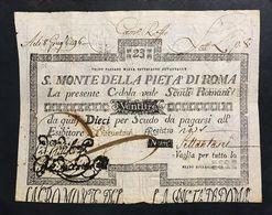 SACRO MONTE DI PIETA' ROMA 01 02 1792 23 SCUDI Strappetti E Forellini LOTTO 452 Bis - Italia