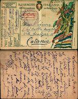 8314a)cart.P.M.in Franchigia Batt.recupero Bersaglieri 15.comp. Lavenone X Catania 3-7-17 - 1900-44 Vittorio Emanuele III