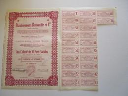 Etablissements Bettonville Et Cie - Titre Collectif De 10 Parts Sociales - Textiel