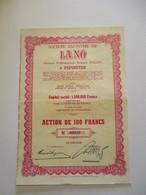 Société Anonyme De Lano à Pépinster - Action De 100 Francs - Textile